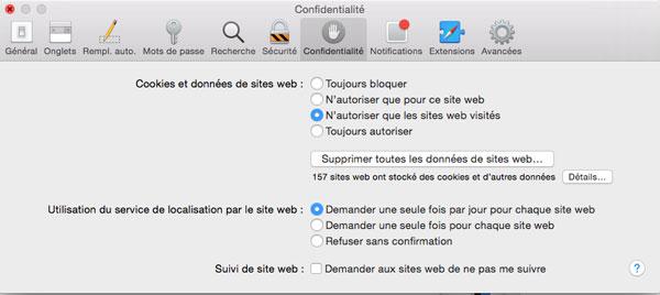 Safari : autoriser les cookies